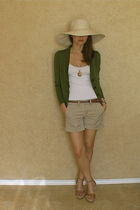 green Gap cardigan - beige G1 shorts - brown White and Black shoes - gold vintag