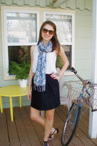 black self-made skirt - blue Target scarf - blue Gap shirt - black seychelles sh