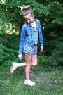 Blue-jean-jacket-gap-jacket-black-floral-romper-h-m-romper-white-sandals