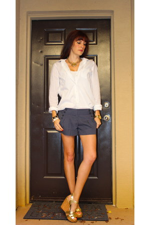 white American Eagle shirt - Charlotte Russe shorts - gold BCBG wedges