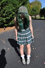 Green-plaid-skirt-velour-fashion-recycled-skirt