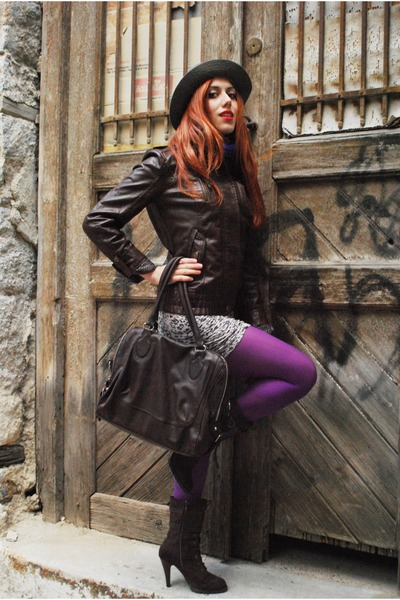 purple Calzedonia tights - charcoal gray vintage hat - dark brown Zara jacket