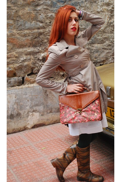 ruby red Pull and Bear bag - brown Migato boots - ivory Bershka dress
