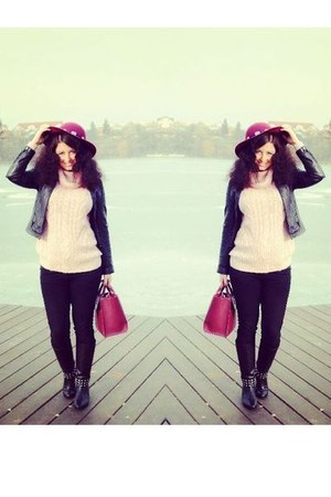 black Zara boots - black H&M jeans - magenta Zara hat
