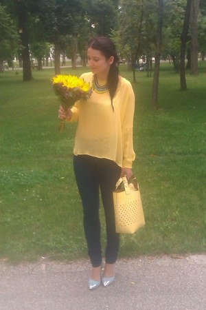 yellow Zara bag - navy Only jeans - yellow Zara blouse - sky blue Bianco heels