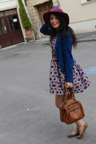 magenta Zara hat - white Atmosphere dress - navy Stradivarius blazer