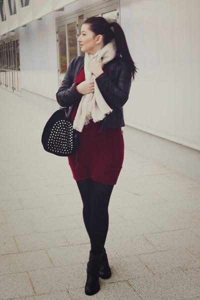 black leather Pilot jacket - crimson Stradivarius dress - ivory H&M scarf