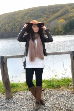 brown H&M hat - light brown Patrizia rigotti boots - black H&M jeans