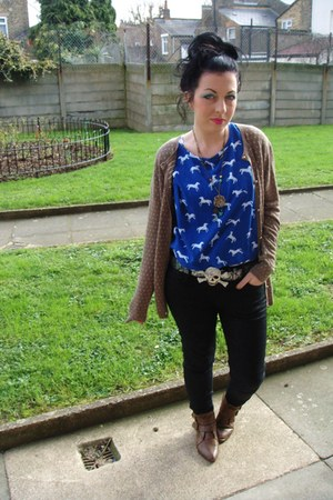 blue H&M top - dark brown Primark boots - black Topshop jeans