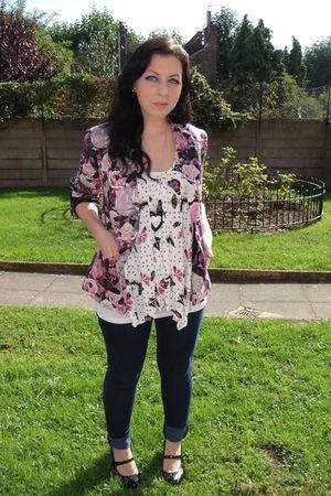 pink new look jacket - white Primark top - blue Topshop jeans