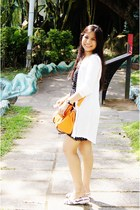 white-cotton cotton on cardigan - white flat Charles & Keith sandals