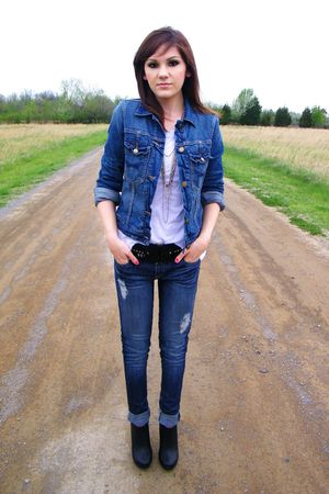Gap jacket - black Forever 21 shoes - Forever 21 jeans - Forever 21 belt
