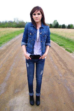 Gap jacket - black Forever 21 shoes - Forever 21 jeans - Forever 21 belt