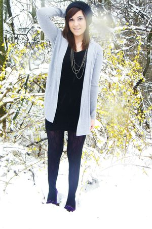 gray Forever 21 coat - purple Rue 21 shoes - black wal-mart accessories