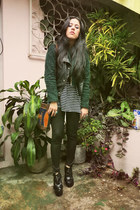 oversized Gap t-shirt - faux fur Ana Gonzlez coat - bag - leather Bershka vest