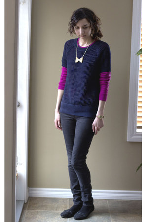 garage jeans - Gap sweater - Gap sweatshirt - Yesstyle necklace
