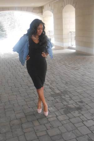 jean jacket vintage jacket - midi dress Costa Blanca dress - Bakers heels