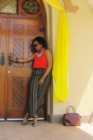 vintage pants - crop top Forever 21 top - Zara heels