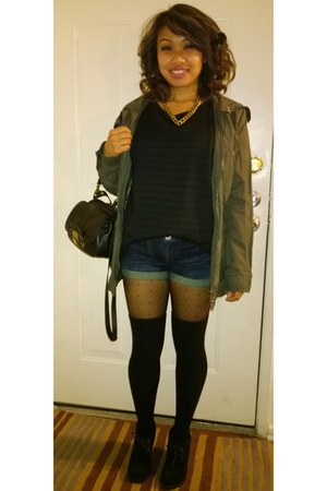 black boots - army green Forever21 coat - blue Forever21 shorts