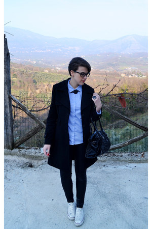 white Converse sneakers - black Bershka pants