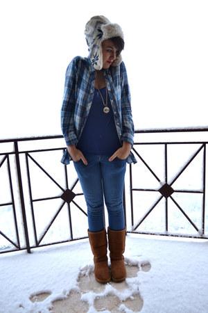 blue Bershka jeans - blue Stradivarius shirt - blue H&M blouse