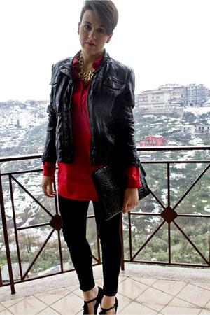 red Bershka blouse - black Secondhand bag - black Bershka pants