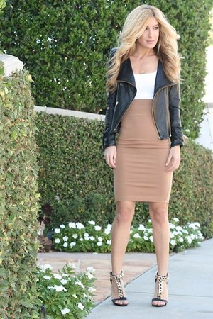 black leather vintage jacket - camel Forever 21 skirt