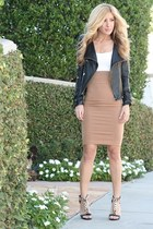 black leather vintage jacket - camel Forever 21 skirt