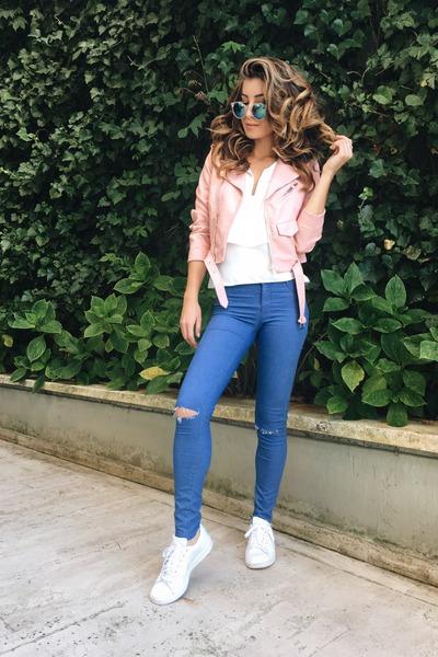 light pink Zara jacket - white Adidas sneakers