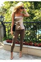tan Elie Tahari top - olive green JustFab jeans