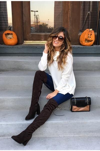 dark brown Shoedazzle boots - cream JustFab top
