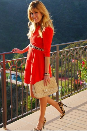 orange luluscom dress - nude quilted Chanel bag - Sole Society heels