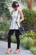 white Dynamite blouse - black Dynamite jeans - red JustFab heels