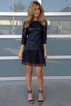 black Zara top - black Blush Boutique skirt - Bebe heels