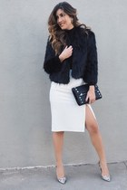 black faux fur Dynamite jacket - white ro & de noir skirt