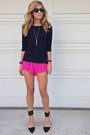 Forever-21-sweater-hot-pink-gypsy-junkies-shorts-black-zara-heels
