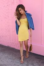 light yellow Aritzia dress - blue Sheinside jacket - tan YSL bag