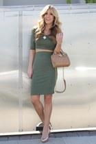 olive green ami clubwear dress - camel Bebe purse - nude Shoedazzle heels