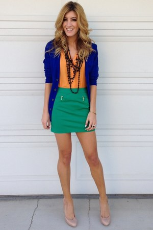 blue H&amp;M cardigan - green Forever 21 skirt - orange Blush Boutique top