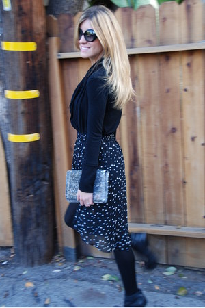 Zara skirt - black boots Bakers boots - Chanel sunglasses