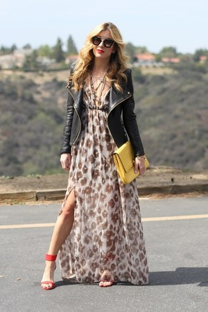 red Shoedazzle shoes - brown Angl dress - black Prada sunglasses