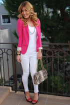 white Sugar & Sequins jeans - hot pink Zara blazer - Chanel bag