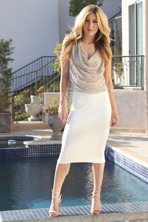 silver haute hippie top - cream Zara skirt - neutral Shoedazzle heels
