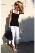 black Yves Saint Laurent purse - white JustFab jeans - black Beymen Club top