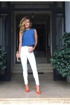 blue denim Zara top - red Shoedazzle heels