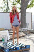 red Forever 21 jacket - heather gray All Saints t-shirt