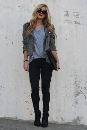 silver leather capulet jacket - black Celine sunglasses