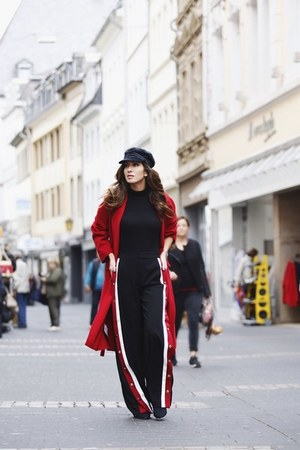 black Forever 21 hat - red Mango coat - black Zara pants