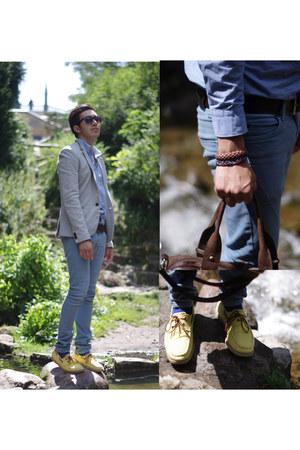 blazer grey jacket - skinny Blue jeans