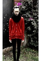 knitted LeNerd scarf - red Zara cardigan